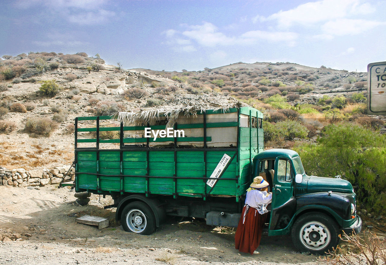 Rear view of woman standing by truck
