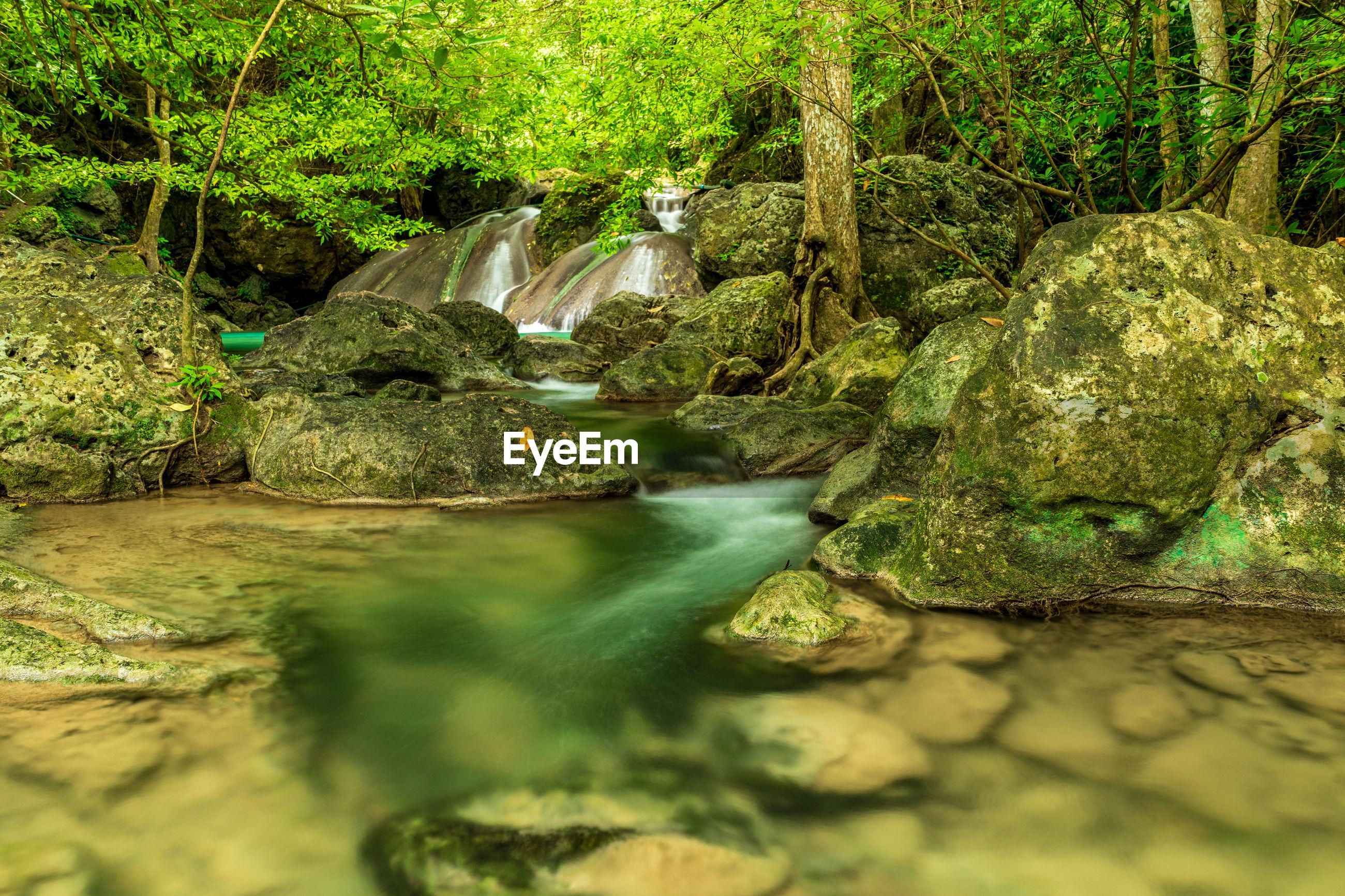 Erawan waterfall in rain forest at national park,thailand.