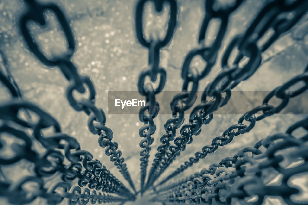 selective focus, no people, metal, close-up, backgrounds, pattern, chain, full frame, connection, textured, design, outdoors, day, nature, strength, black color, shape, high angle view, safety, iron