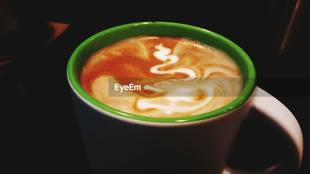 coffee cup, drink, coffee - drink, refreshment, food and drink, frothy drink, froth art, cappuccino, indoors, table, latte, freshness, saucer, close-up, high angle view, no people, day