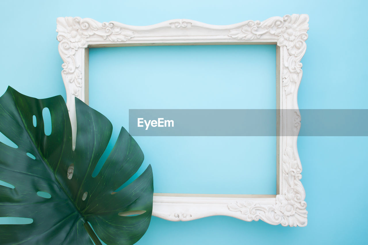 Frame against blue background