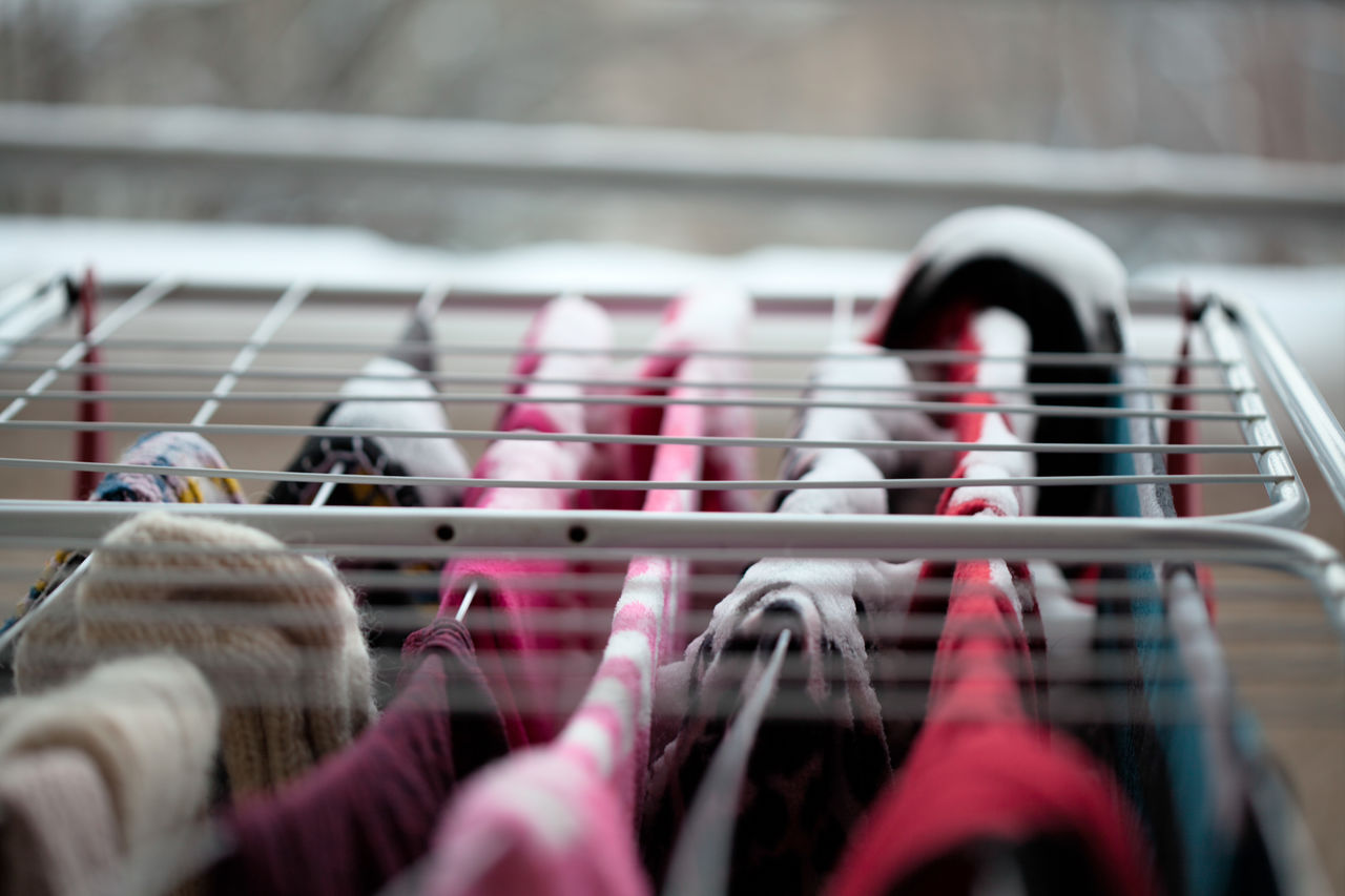 Close-Up Of Clothes On Clothes Rack