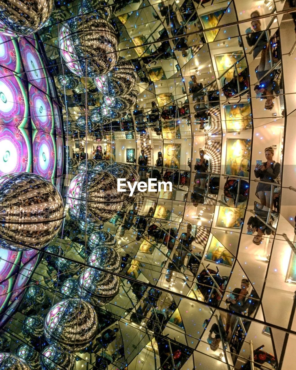 illuminated, indoors, retail, no people, hanging, nightlife, fish-eye lens, day