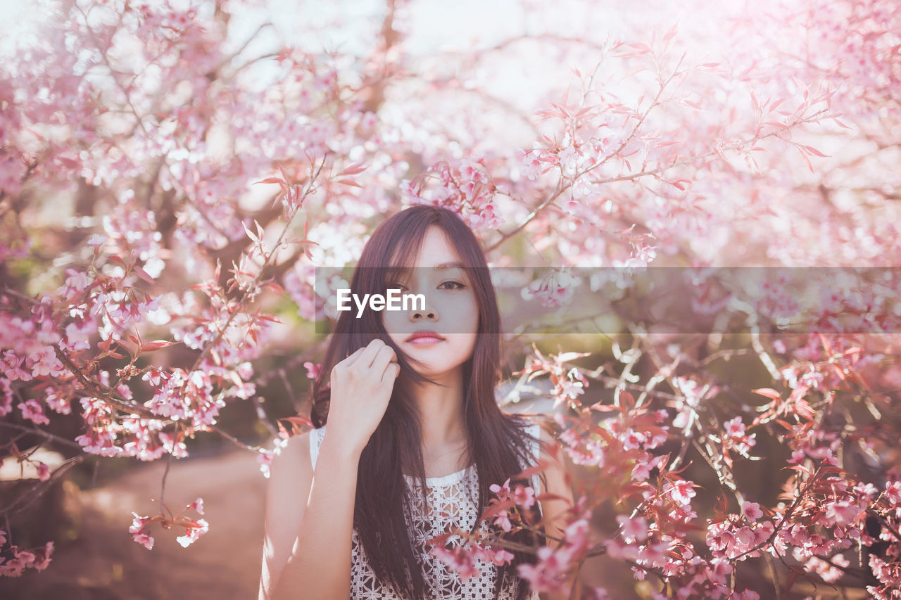 Young Woman Standing In Front Of Cherry Blossoms In Park
