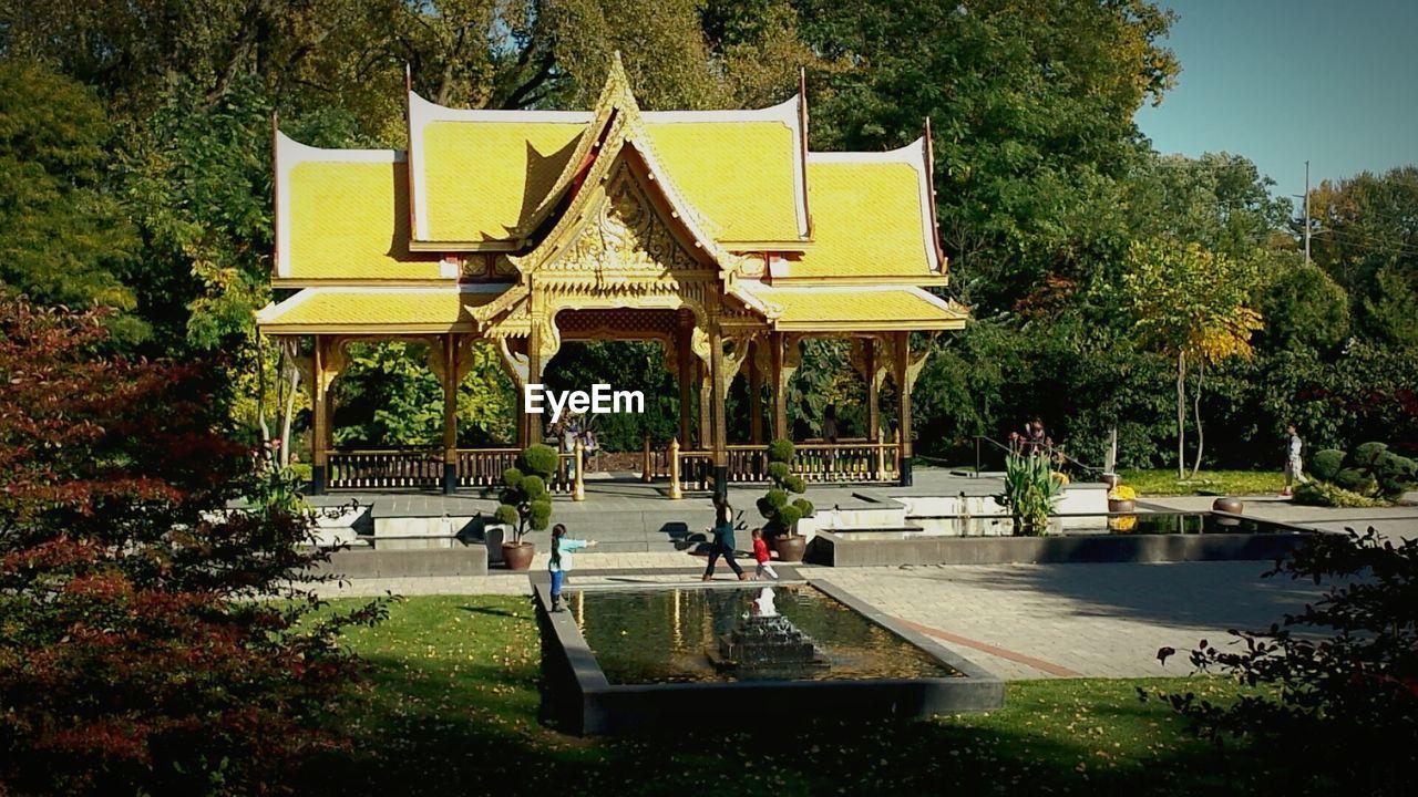 Thai Pavilion Against Trees At Olbrich Botanical Gardens