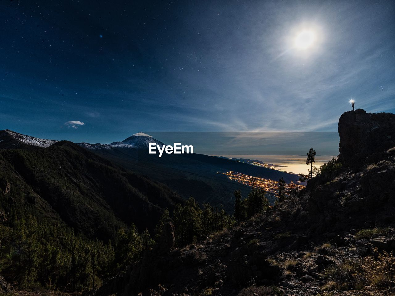 mountain, sky, scenics - nature, beauty in nature, tranquil scene, tranquility, nature, environment, mountain range, landscape, non-urban scene, no people, night, star - space, idyllic, cloud - sky, outdoors, moon, space, astronomy, mountain peak