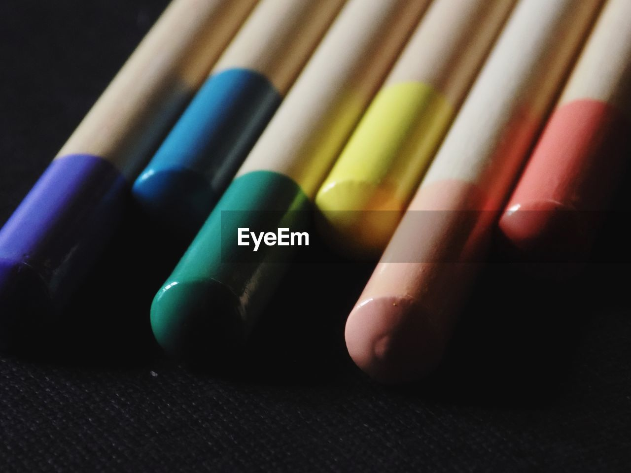 Close-Up Of Colorful Pencils On Table