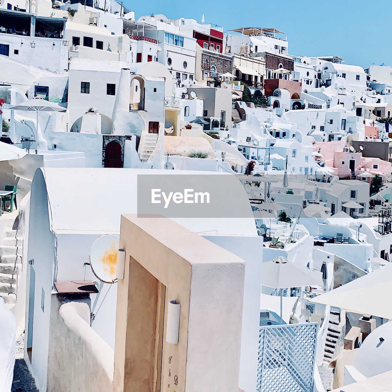 High angle view of traditional greece buildings