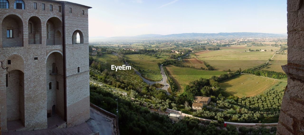 Panoramic view of castle against green landscape