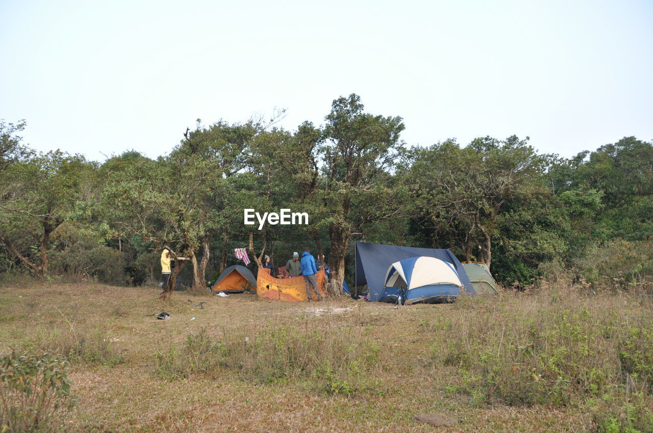 Friends Standing Near Tent In Forest
