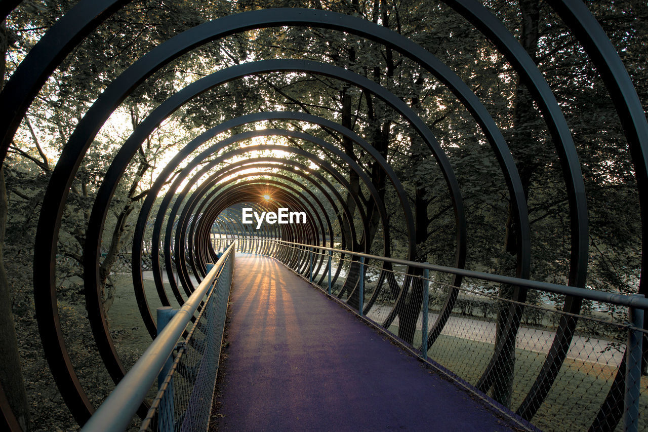 the way forward, direction, architecture, tunnel, diminishing perspective, built structure, arch, no people, transportation, connection, railing, illuminated, bridge, metal, nature, footpath, bridge - man made structure, road, outdoors, empty, track, light at the end of the tunnel, long