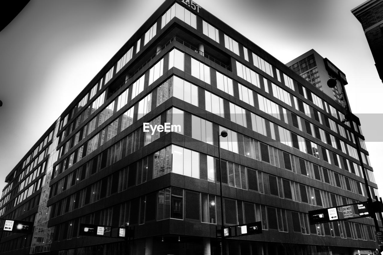 architecture, building exterior, built structure, low angle view, modern, window, day, outdoors, no people, city, sky, corporate business