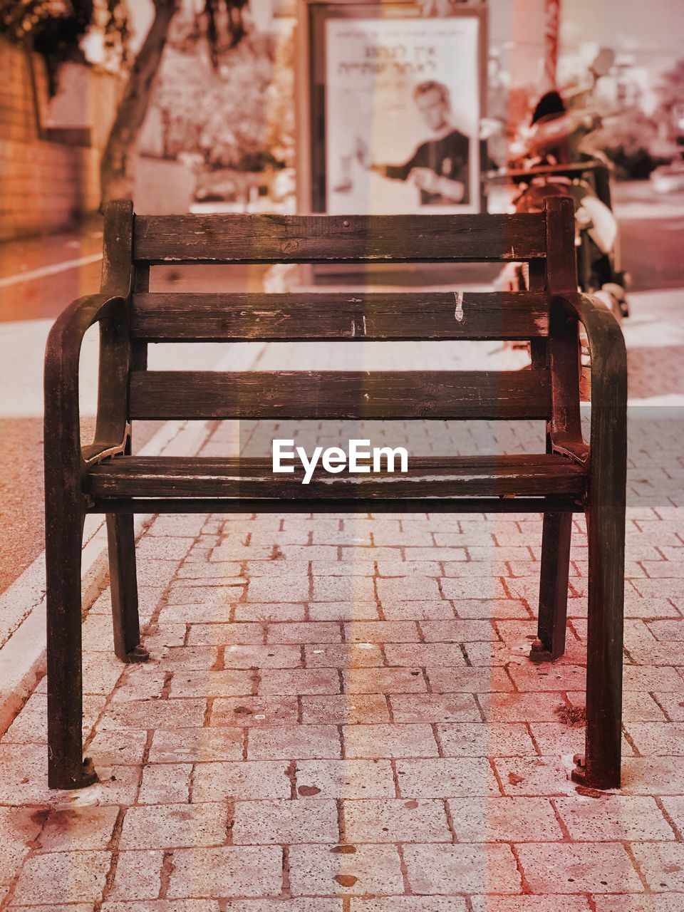 seat, empty, bench, absence, wood - material, no people, day, focus on foreground, outdoors, architecture, footpath, old, relaxation, park bench, park, chair, built structure, street, metal, flooring, paving stone