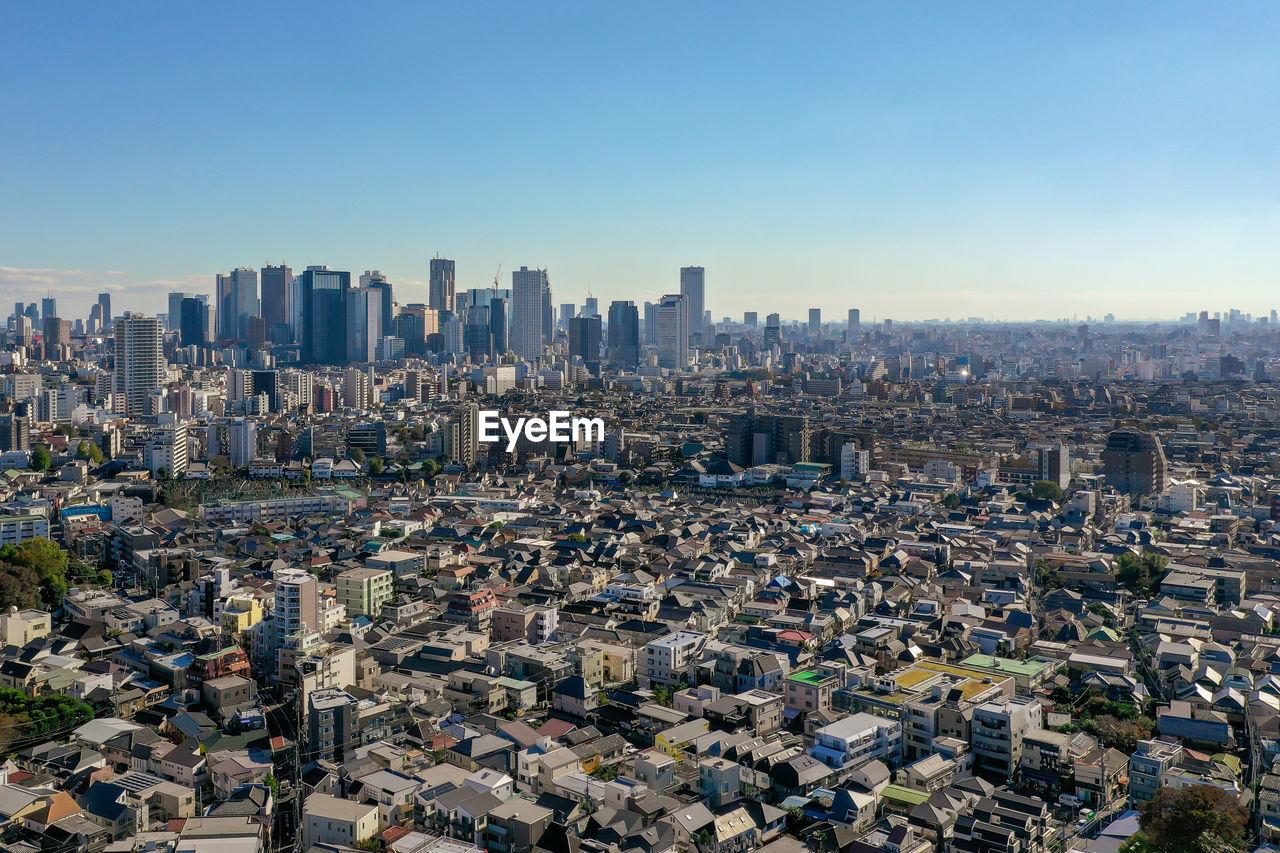Aerial view shinjuku ward and skyscraper building in tokyo japan. shinjuku is a major business area.