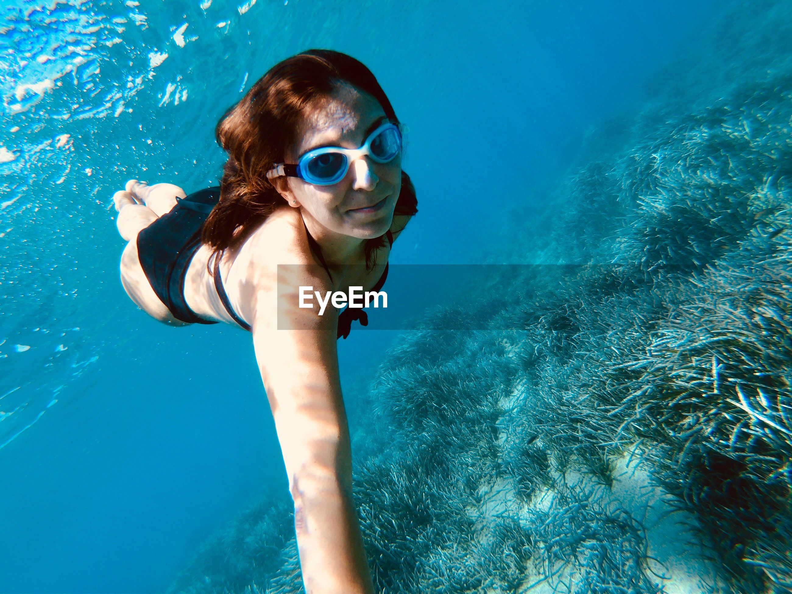 Full length of young woman swimming undersea