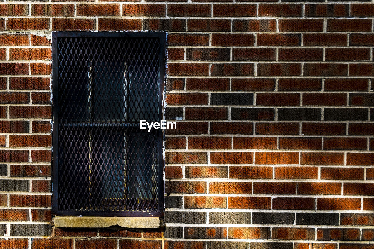 architecture, built structure, brick wall, wall, brick, building exterior, pattern, wall - building feature, no people, window, day, building, outdoors, closed, full frame, entrance, door, house, residential district, staircase, focus on shadow
