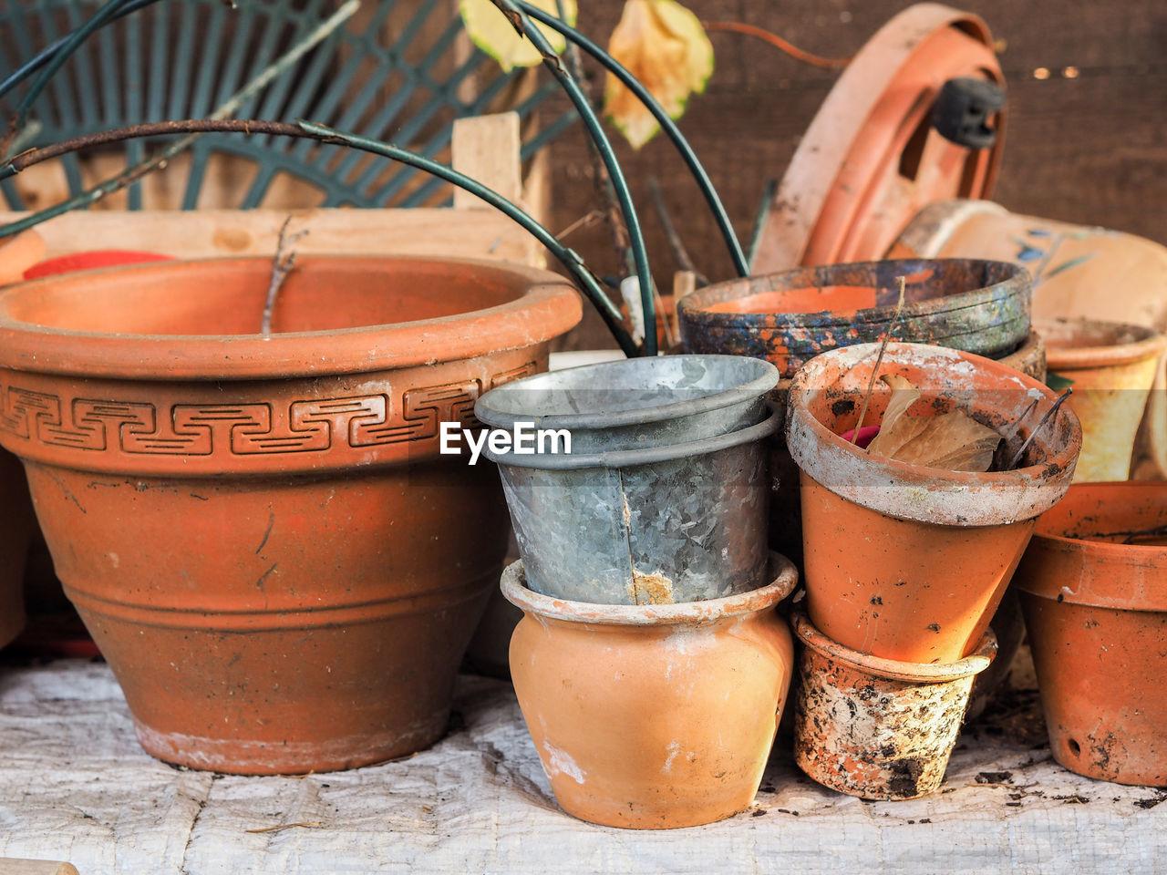 Close-Up Of Plant Pots
