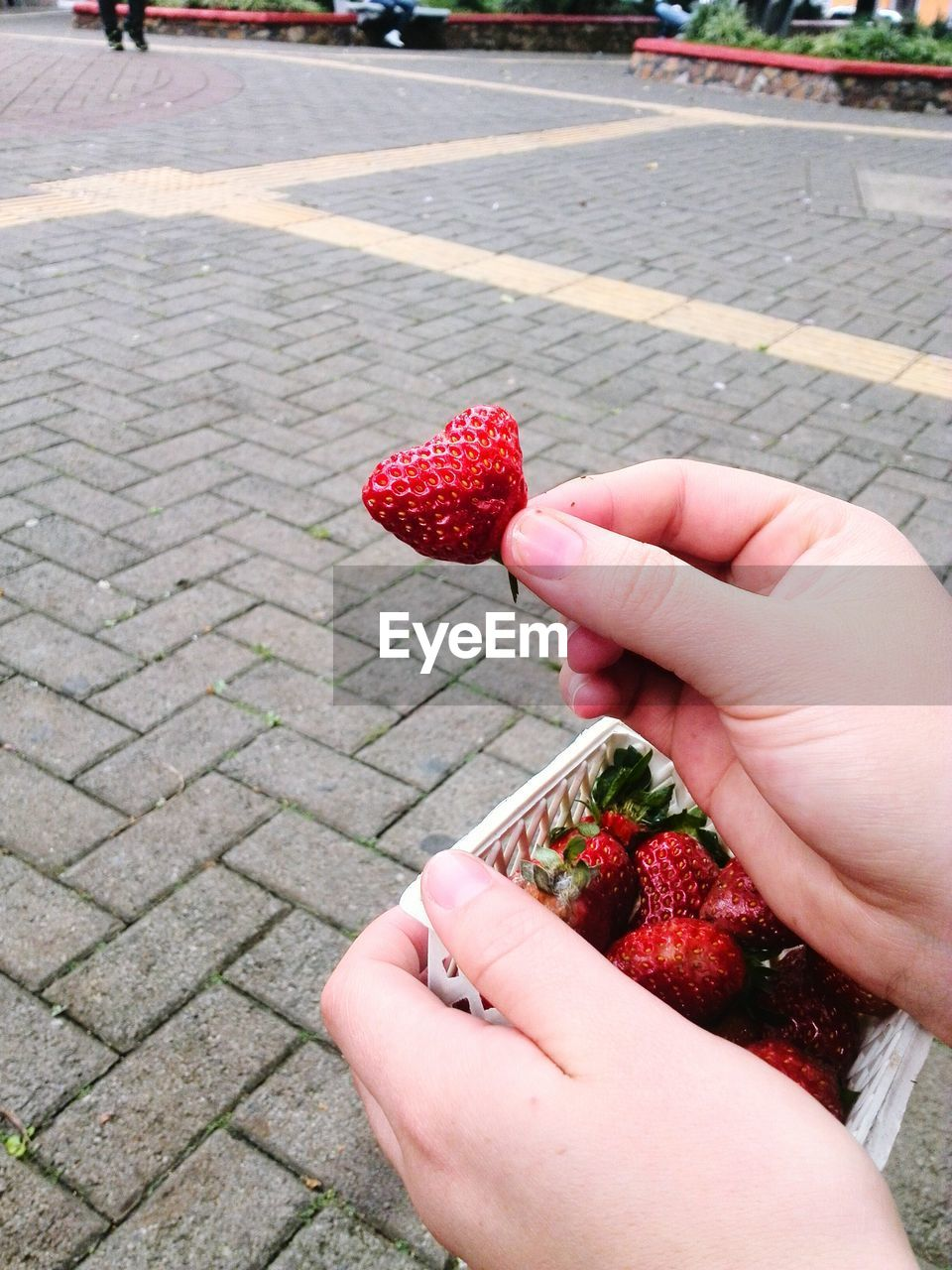 Cropped Image Of Person Holding Strawberries