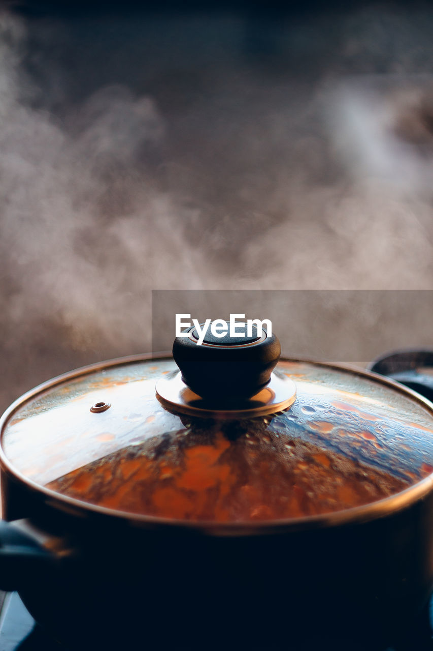 Close-up of food cooking in utensil