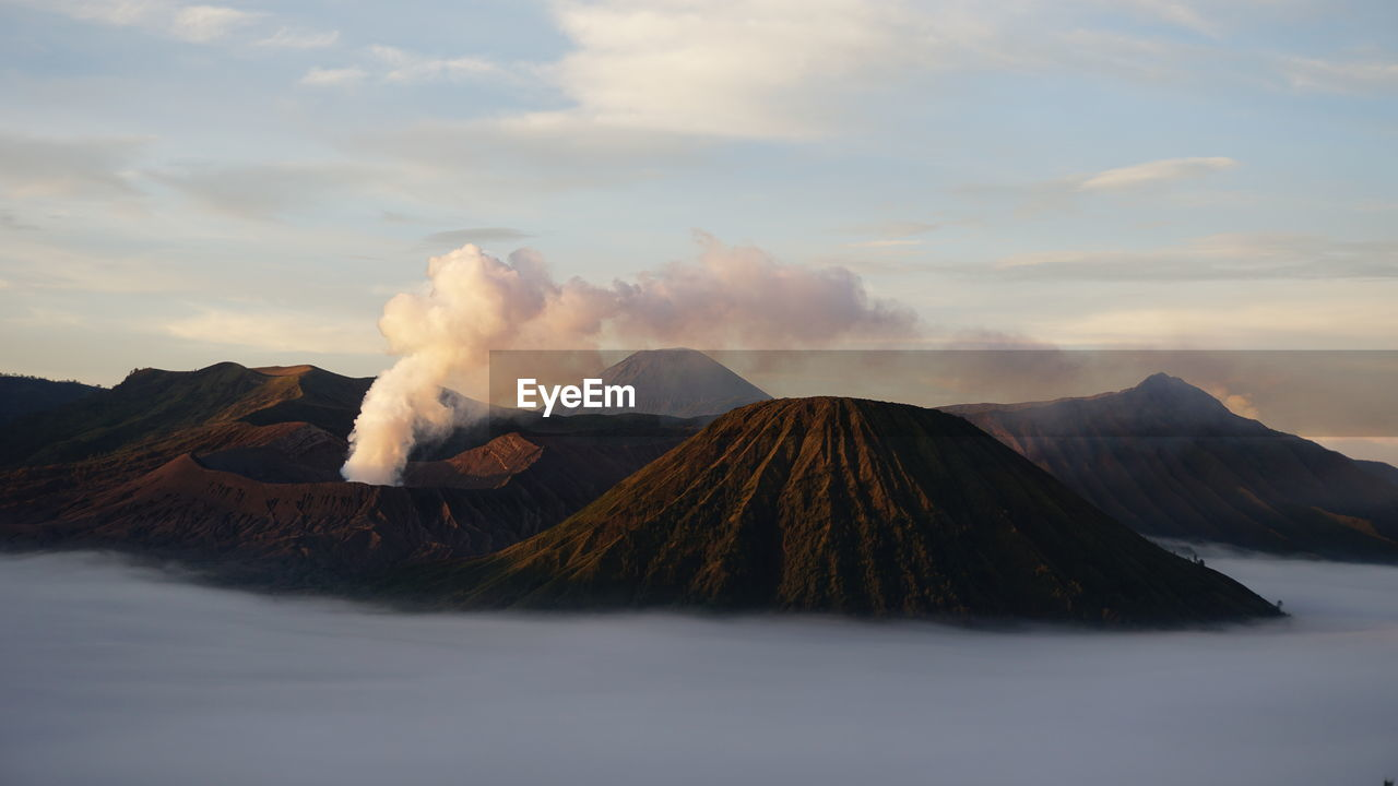 Panoramic View Of Volcanic Mountain Against Sky