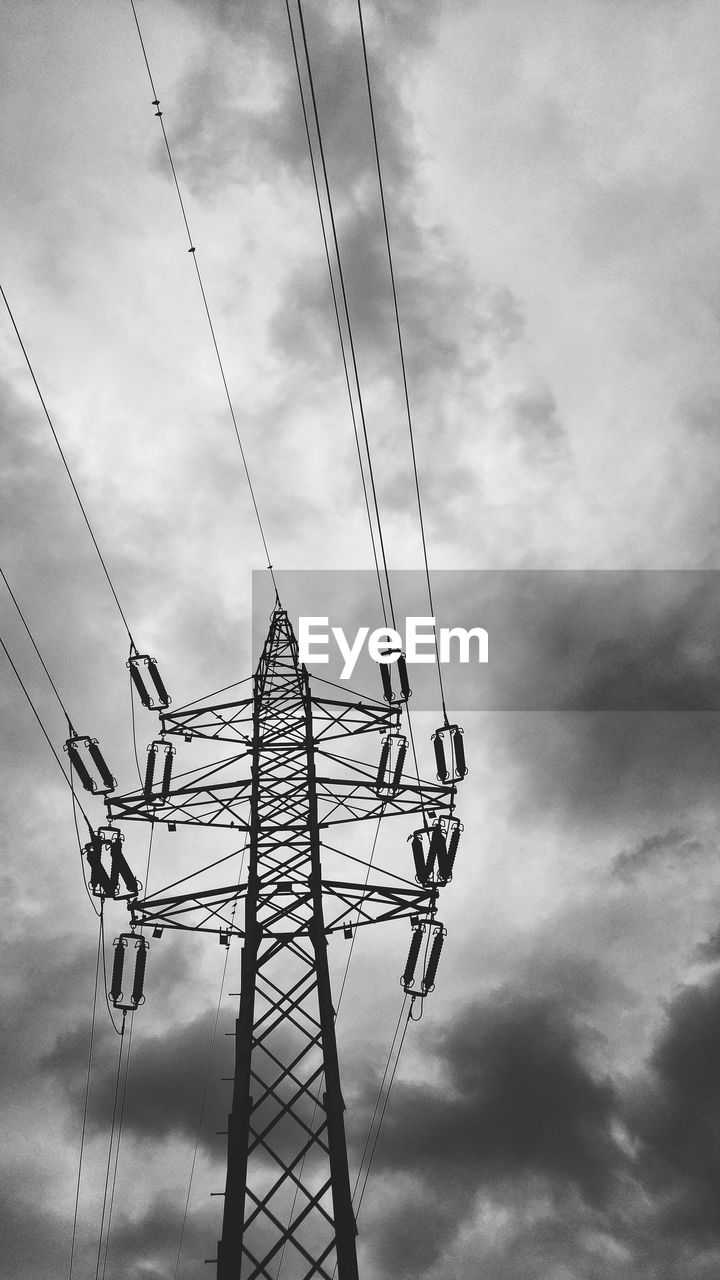 cloud - sky, cable, sky, low angle view, connection, technology, day, outdoors, power supply, fuel and power generation, electricity, electricity pylon, no people, nature