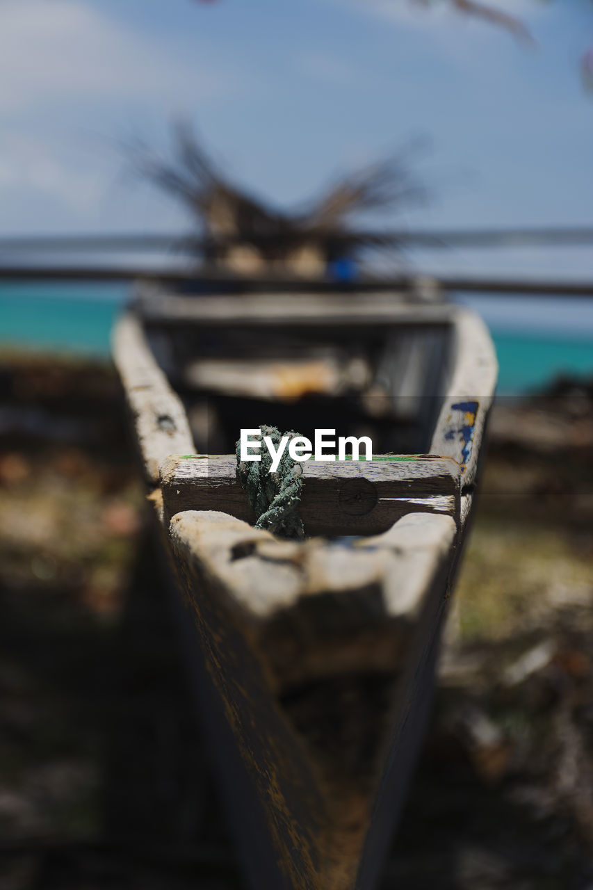 water, close-up, focus on foreground, no people, nature, metal, day, nautical vessel, selective focus, sea, sky, rusty, outdoors, rope, wood - material, moored, connection, transportation, weathered