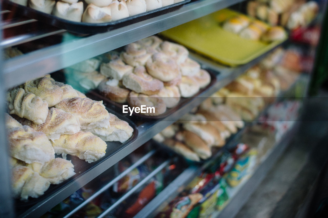 High angle view of food on shelf at store for sale