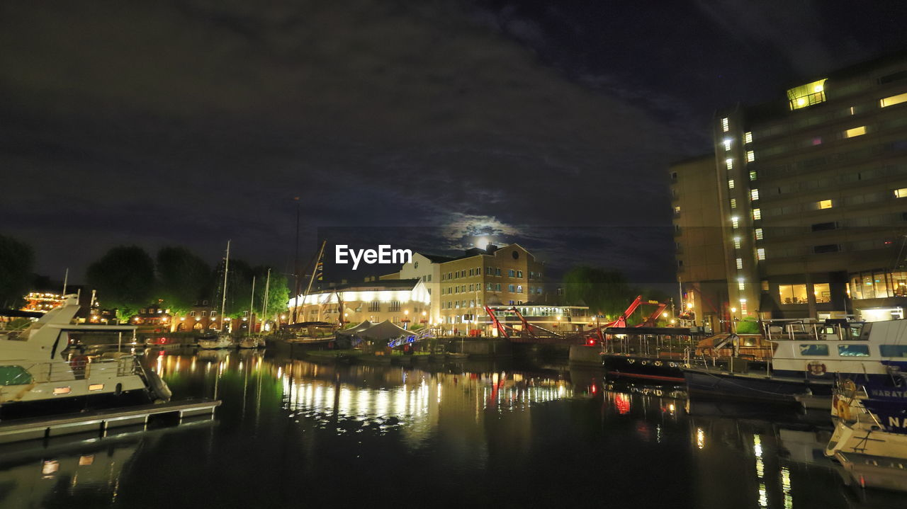water, night, illuminated, building exterior, nautical vessel, reflection, architecture, built structure, transportation, waterfront, city, mode of transportation, sky, moored, no people, harbor, nature, cloud - sky, building, outdoors, canal, passenger craft, marina, sailboat