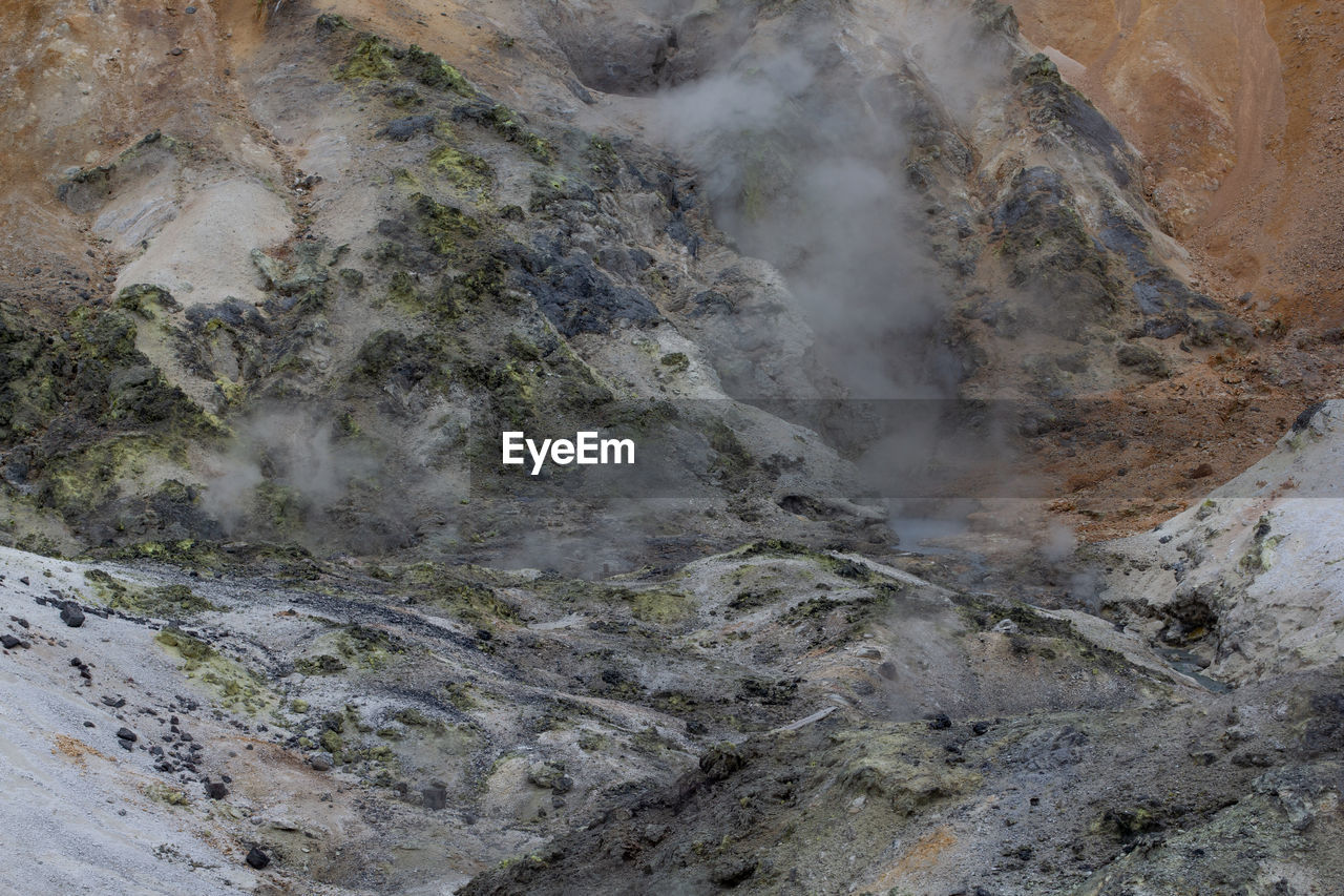 geology, beauty in nature, heat - temperature, physical geography, smoke - physical structure, steam, no people, mountain, non-urban scene, rock, scenics - nature, environment, day, landscape, rock - object, solid, nature, power in nature, volcano, hot spring, outdoors, volcanic crater