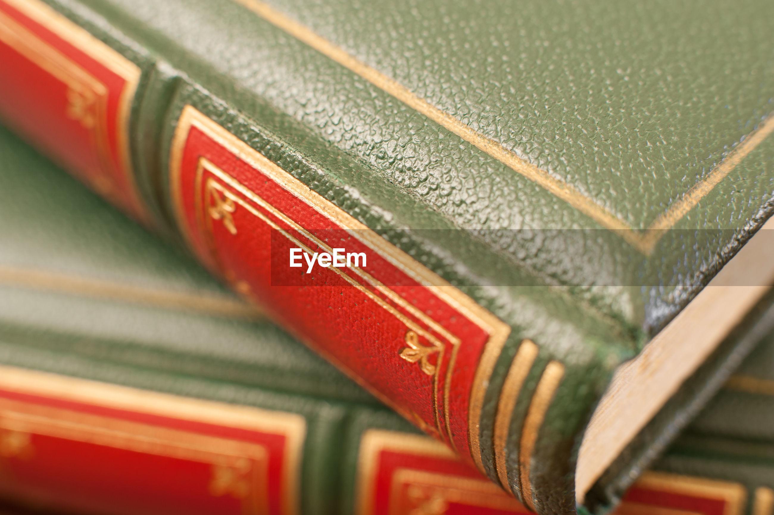 Close-up of antique books