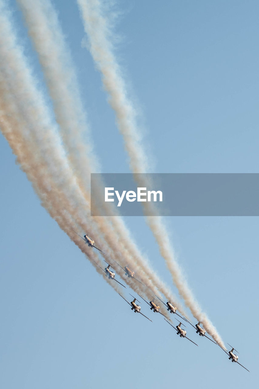 Low Angle View Of Airshow Against Clear Sky