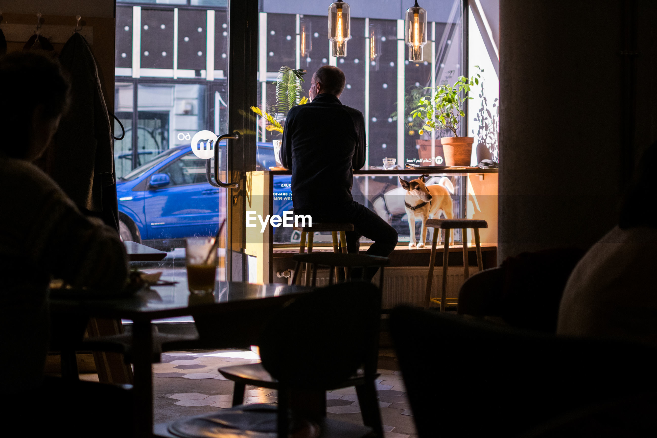 REAR VIEW OF MAN SITTING AT TABLE IN CAFE