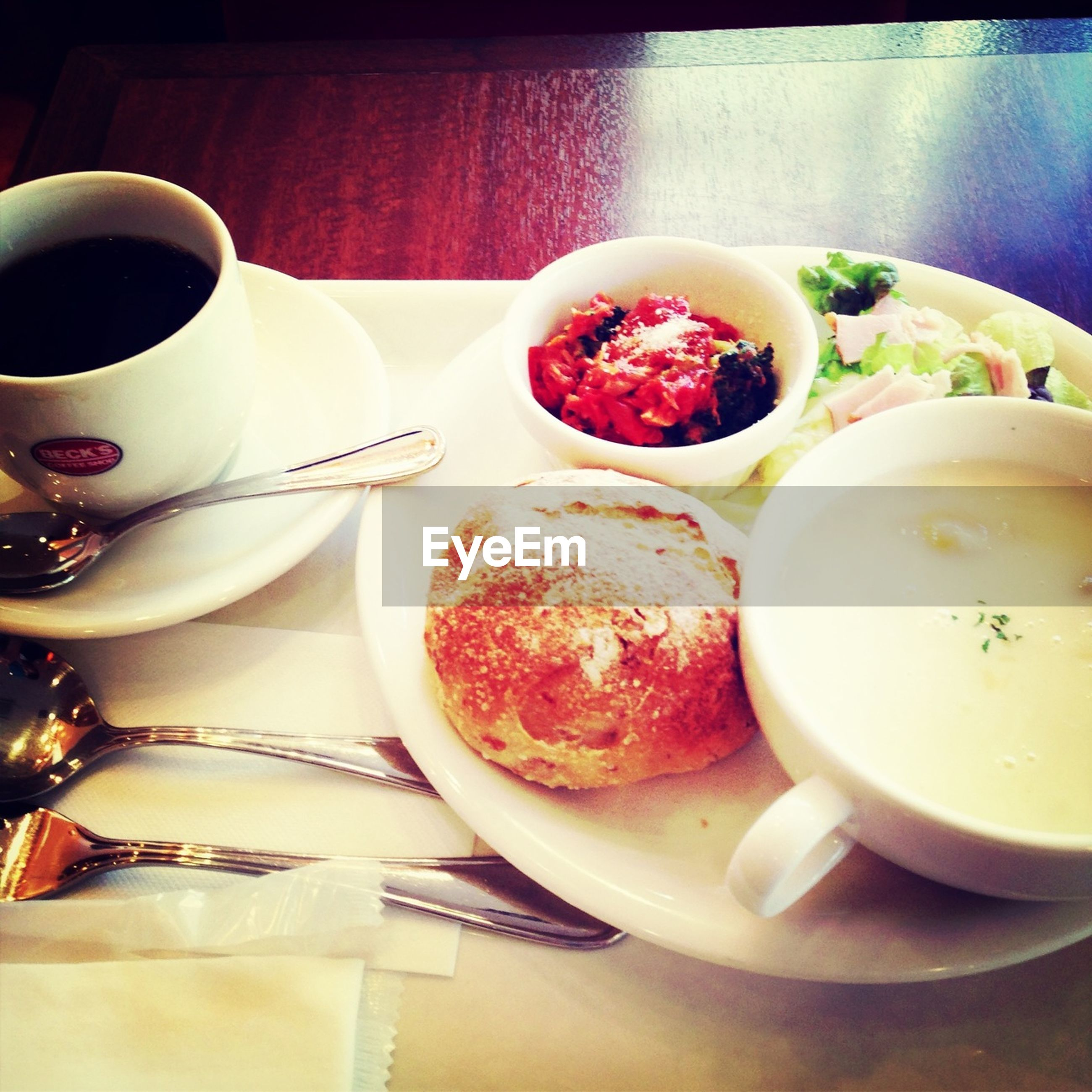 food and drink, indoors, freshness, table, plate, food, drink, still life, ready-to-eat, coffee cup, healthy eating, refreshment, spoon, high angle view, bowl, breakfast, saucer, coffee - drink, serving size, cup