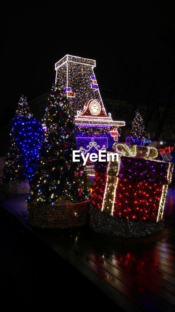 Colorful illuminated christmas lights at warsaw old town
