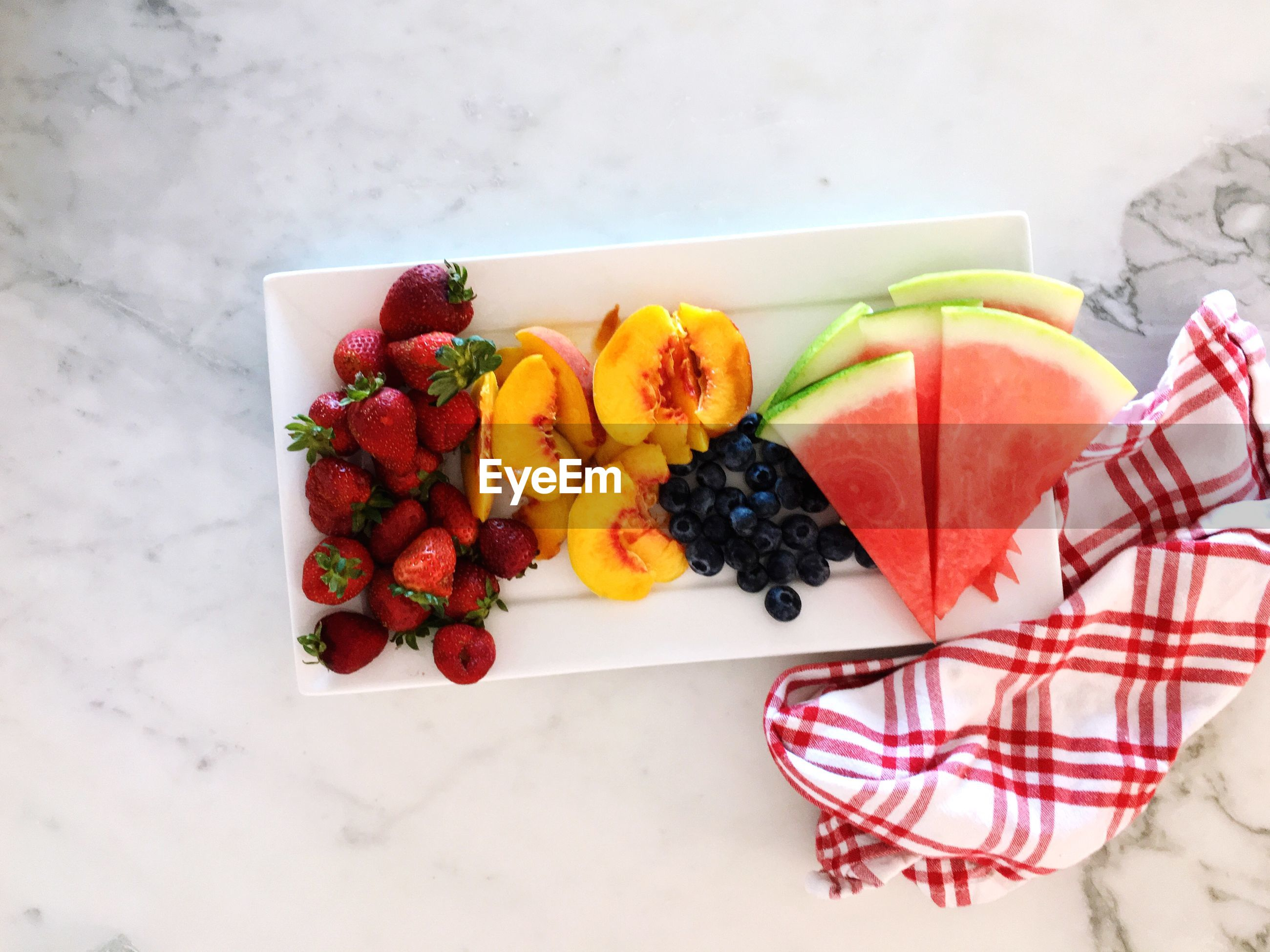 Directly above shot of fruits in plate