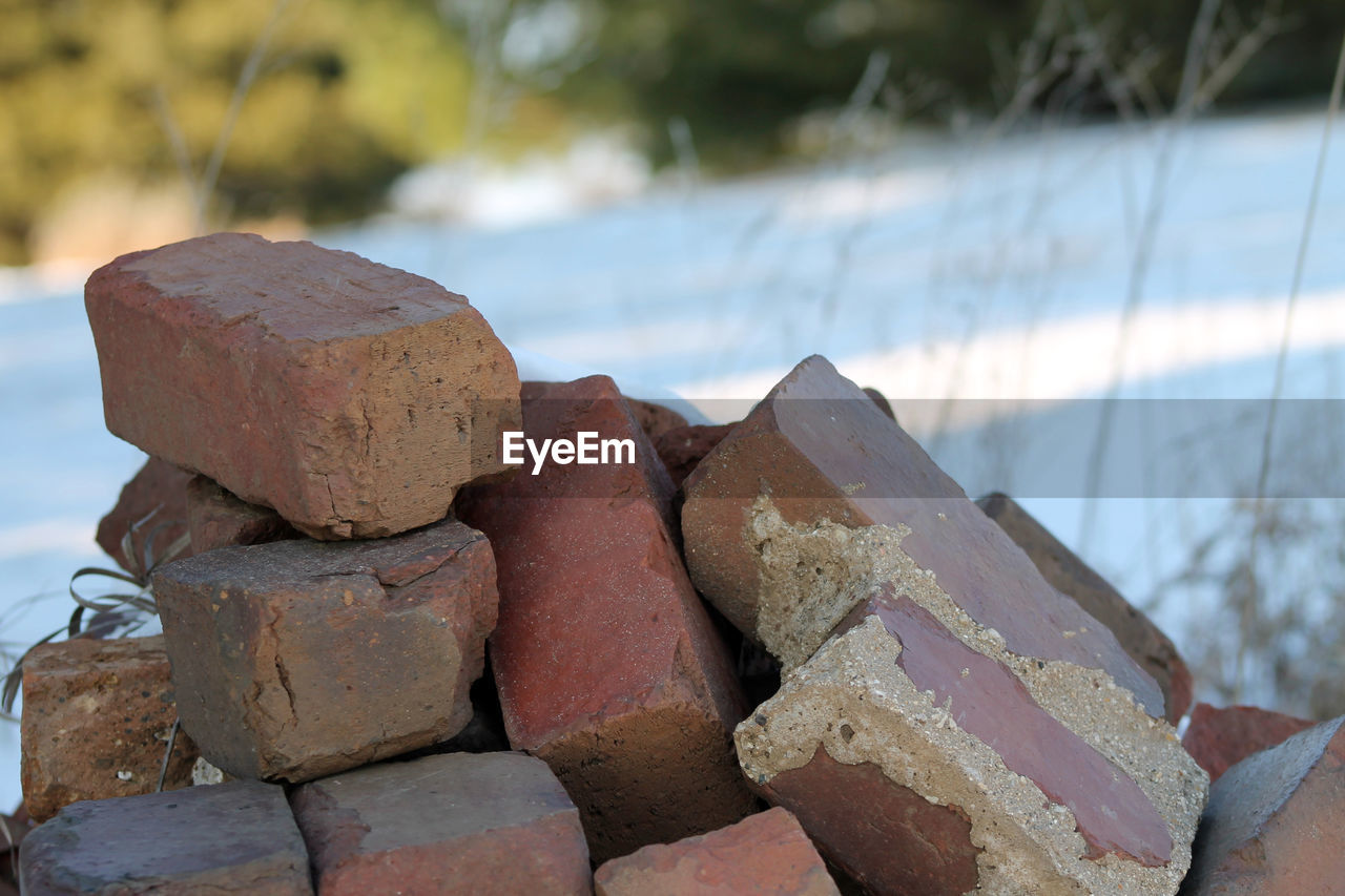 focus on foreground, day, rock - object, no people, outdoors, close-up, stack, nature, water