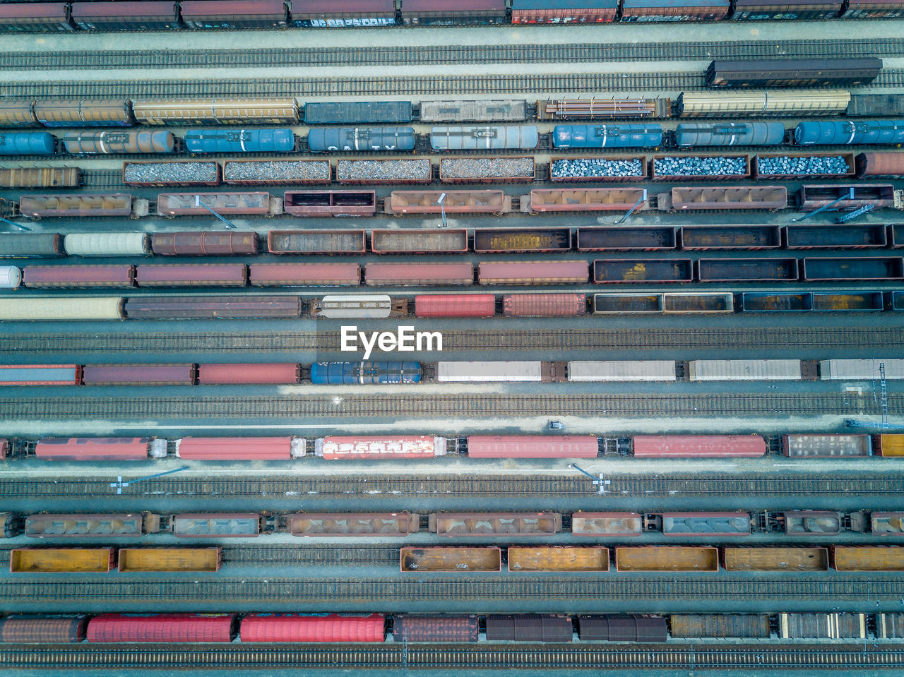 Aerial View Of Freight Train