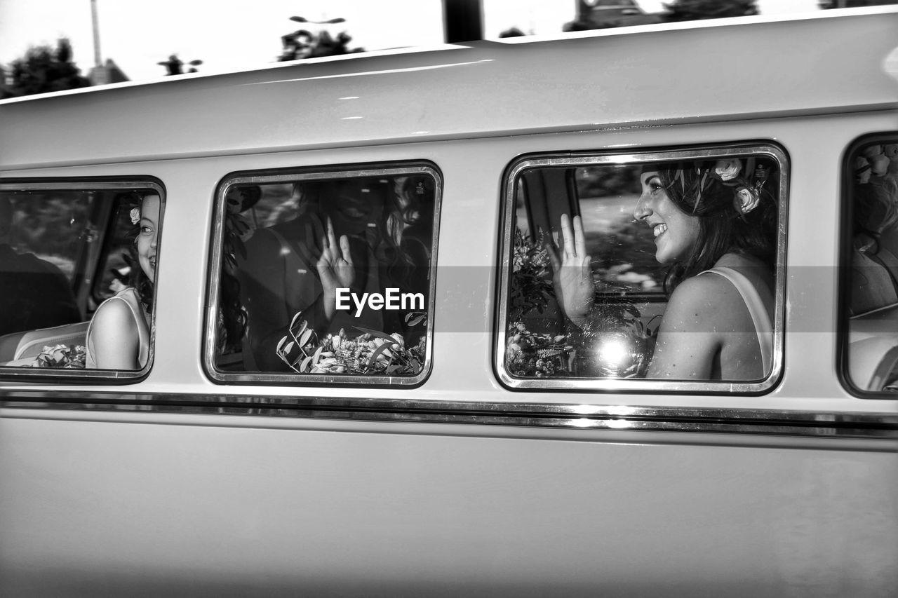 CLOSE-UP OF BUS WINDOW
