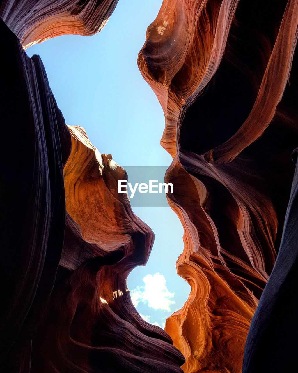 Directly Below Shot Of Antelope Canyon Against Sky
