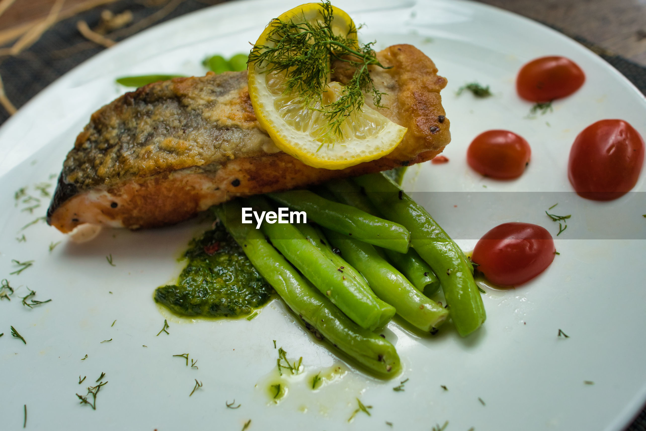High angle view of salmon in plate