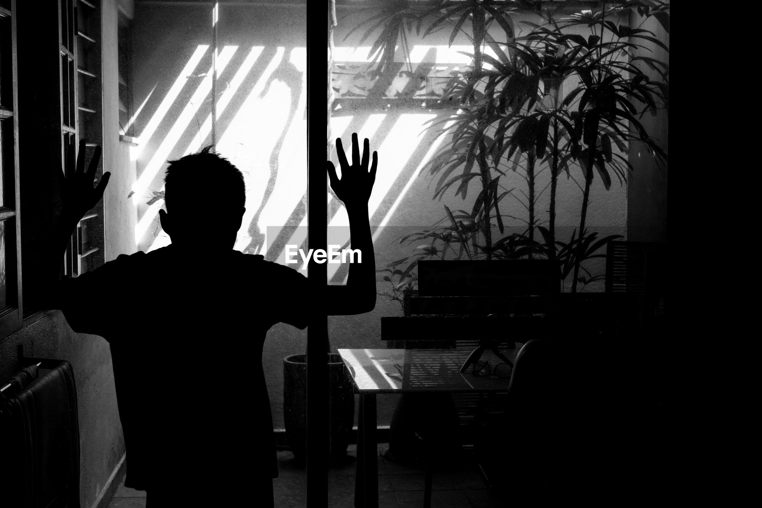 Rear view of silhouette boy with arms raised standing at home