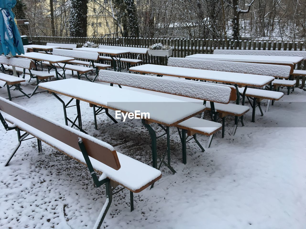 snow, winter, cold temperature, weather, table, chair, empty, white color, absence, group of objects, outdoors, nature, day, seat, no people, bare tree