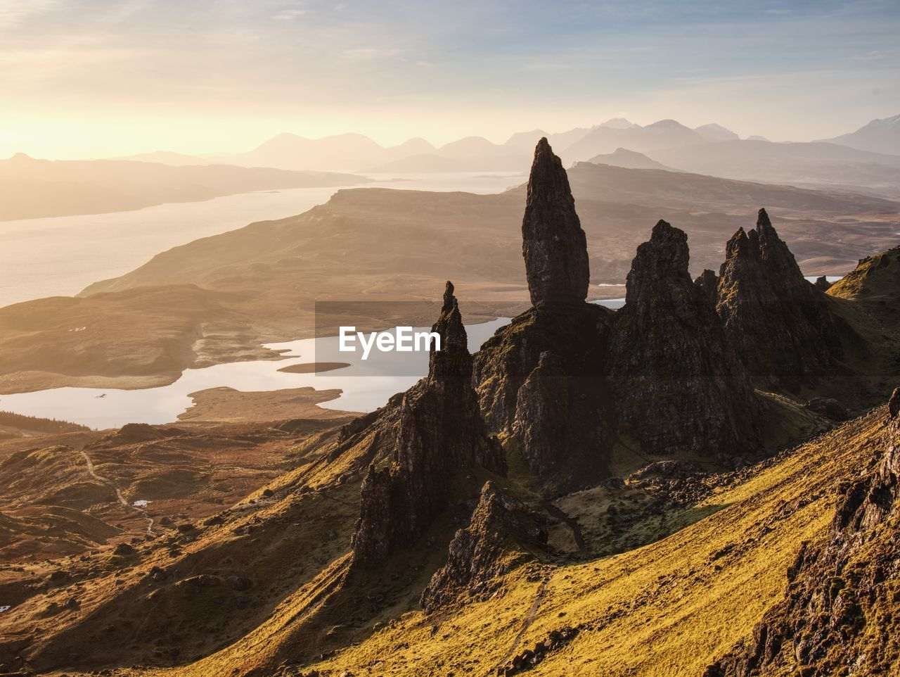 Sunrise at the old man of storr - amazing scenery with vivid colors. symbolic tourist attraction