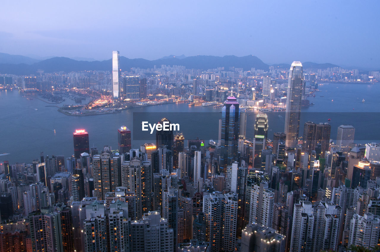 Aerial View Of Hong Kong Skyline At Dusk