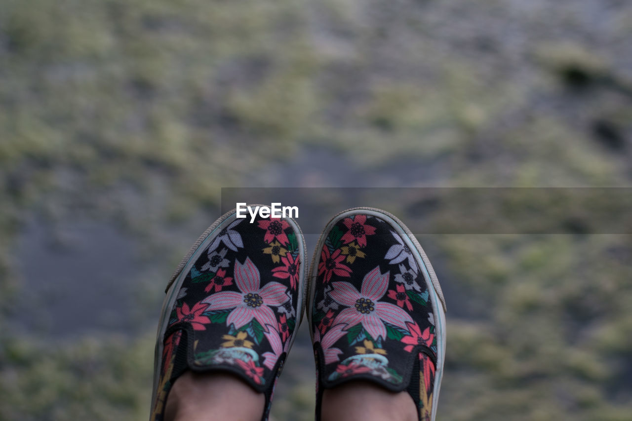 Low section of woman wearing shoes against blurred background