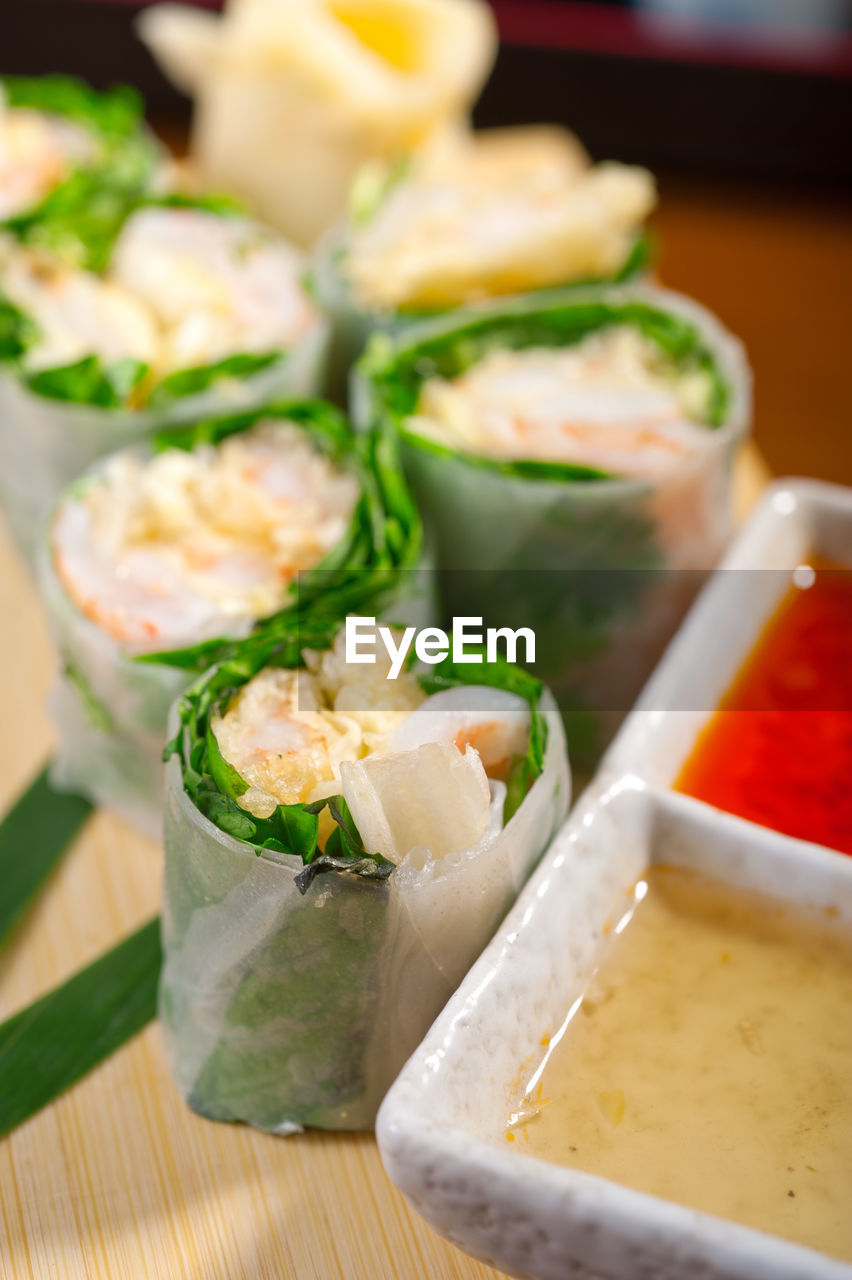 Rice Paper Rolls On Table
