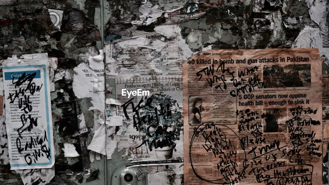 graffiti, poster, abandoned, dirty, text, damaged, no people, day, outdoors