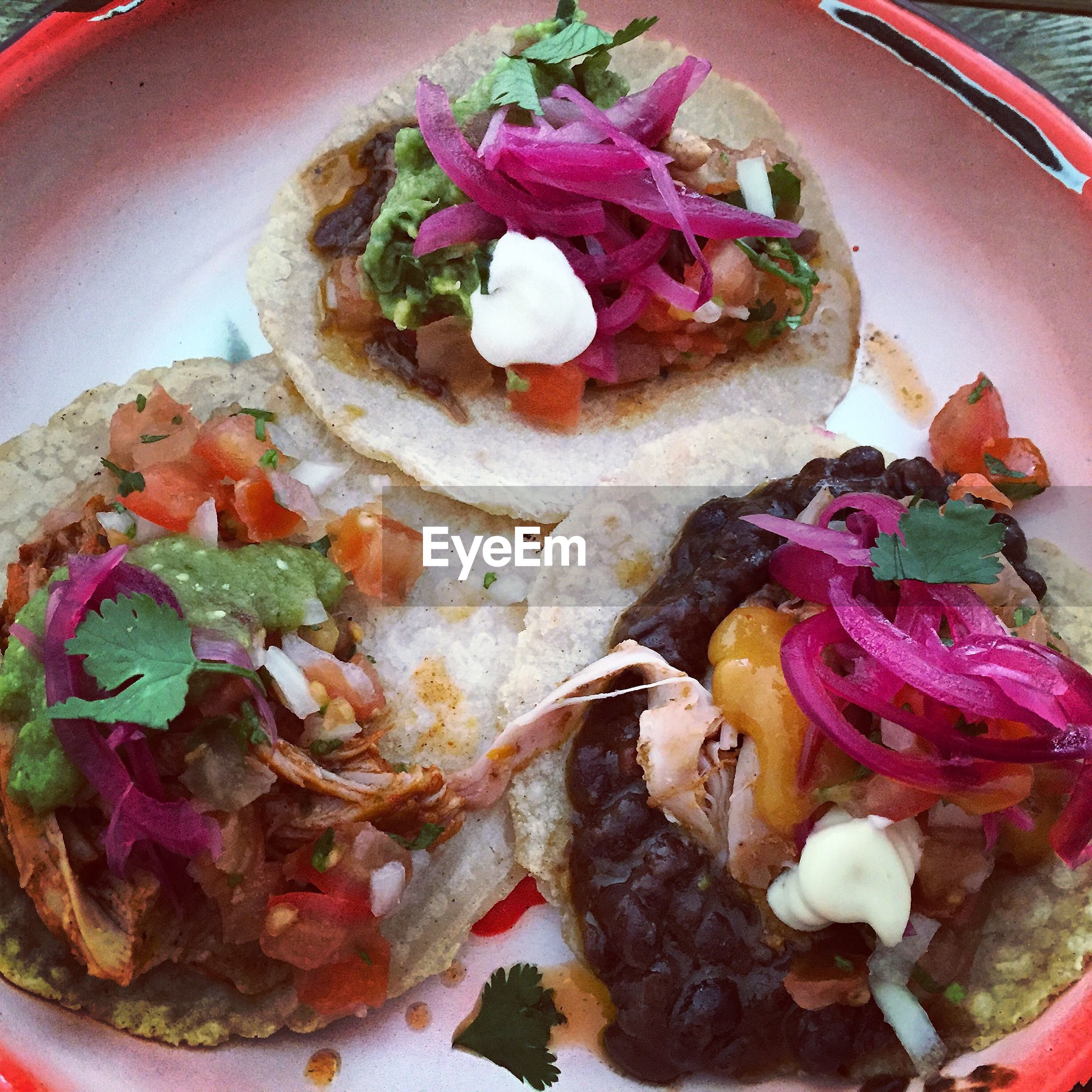 High angle view of tacos on plate