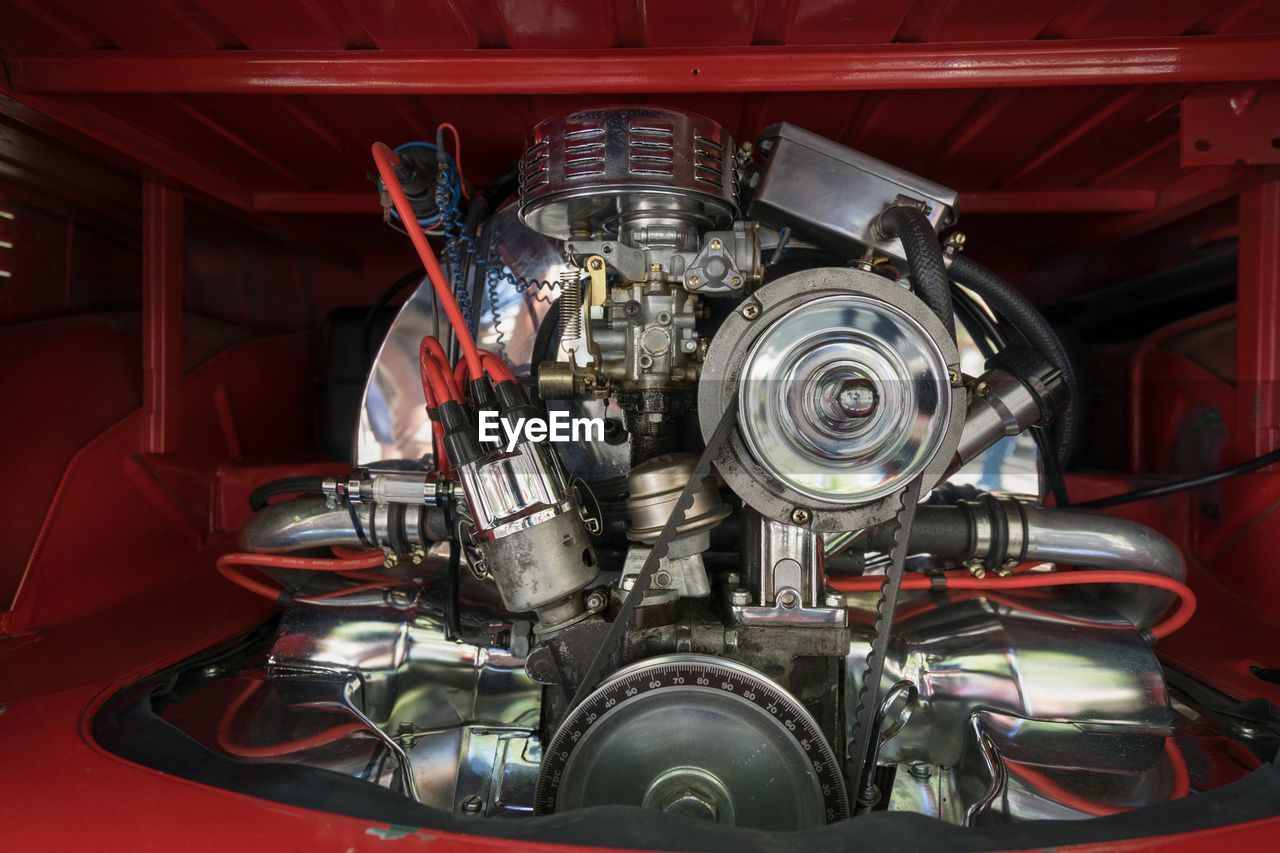 metal, engine, technology, red, no people, transportation, indoors, industry, machinery, automobile industry, vehicle part, close-up, day