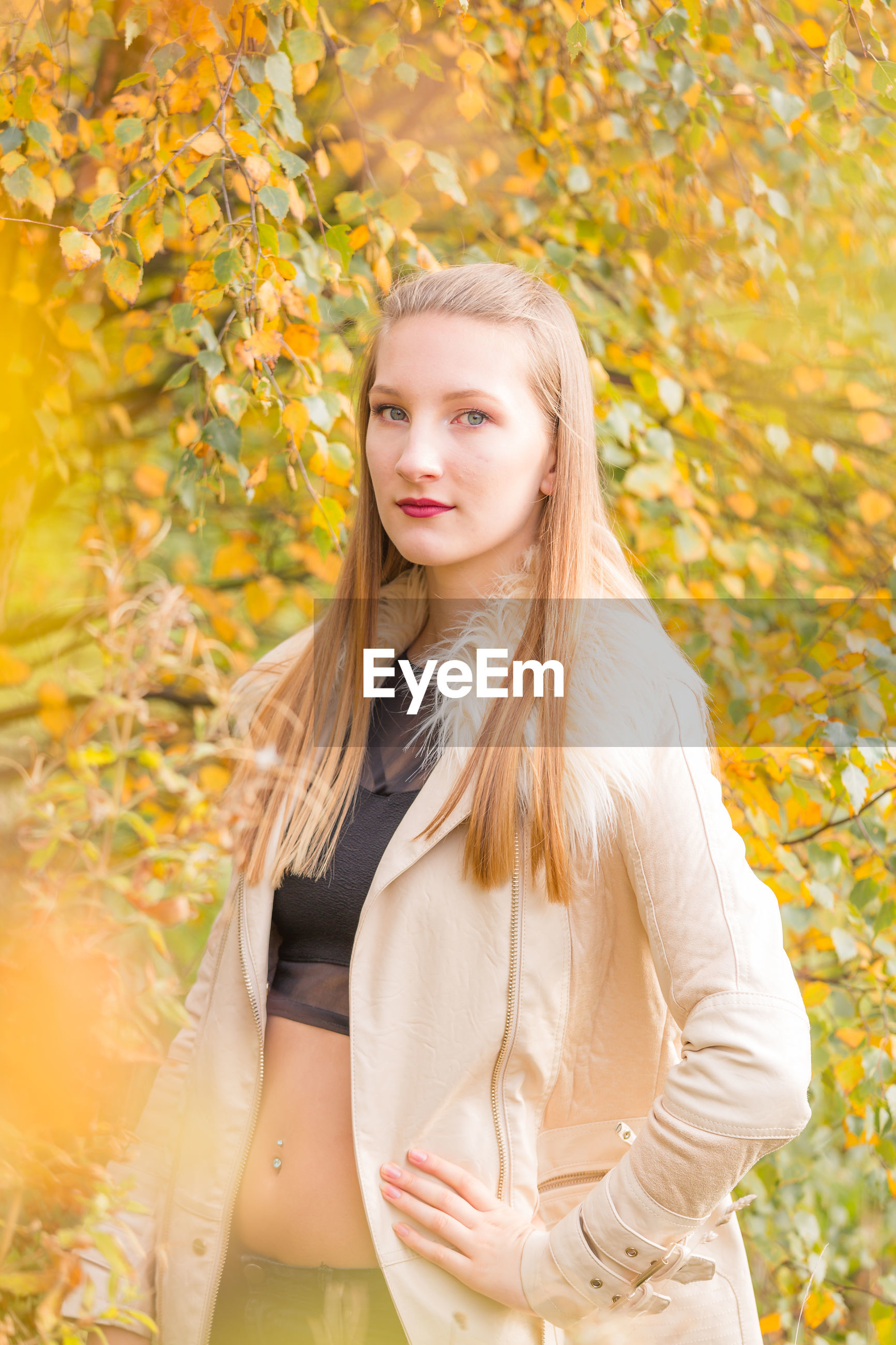 Portrait of young beautiful woman standing by autumn tree branches